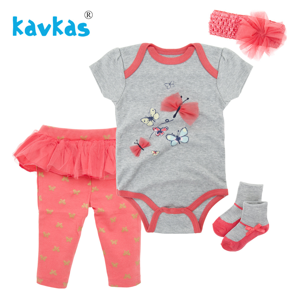 Kavkas 2018 Baby Girl Clothes 4pcs Clothing Sets Cotton   Rompers   Lace Pants Socks Headband Newborn Clothes Mamelucos Para Bebes