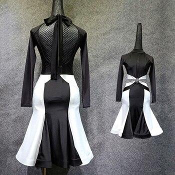 Latin Dance Dress Ice Silk Latin Dress Black VS White Dance Clothing Sexy Back Rumba Flamengo Female Adult Dance Costume VDB425