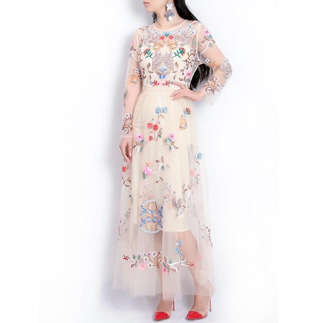 Vintage mesh flower embroidery runway dress