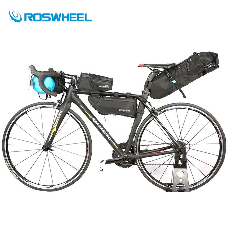Roswheel Full Waterproof Series Bicycle Bag 4Pcs Storage Pack Cycling Handlebar Tube Saddle Bag Road Mountain Bike Bag Panniers roswheel attack series waterproof bicycle bike bag accessories saddle bag cycling front frame bag 121370 top quality