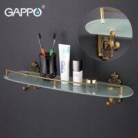 GAPPO Wall Mount Bathroom Shelves Stainless Steel Bath Glass Shelf Holders Double Layer Storage Shelf Towel