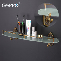 GAPPO Wall Mount Bathroom Shelves Stainless Steel Bath Glass Shelf Holders Double Layer Storage Shelf Towel