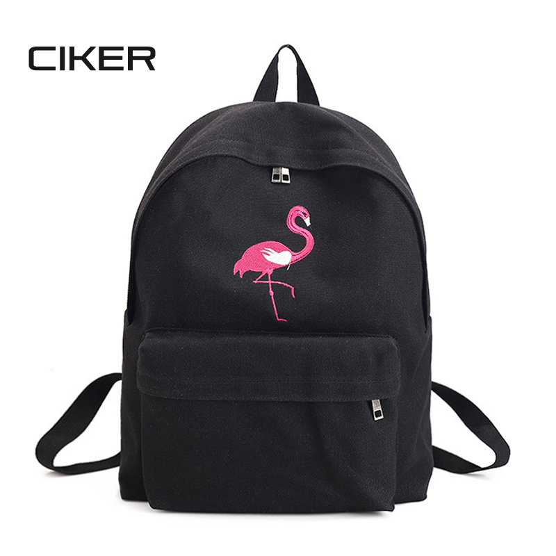 CIKER Fashion flamingo printing backpack women canvas backpacks for teenage girls rucksack school bags casual travel