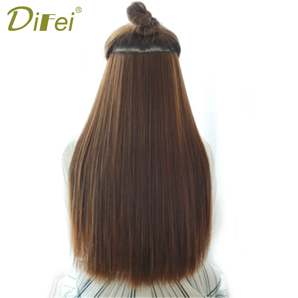 DIFEI Long Straight Hair Extension Natural Synthetic 5 Clip High-Temperature Fiber Exten ...