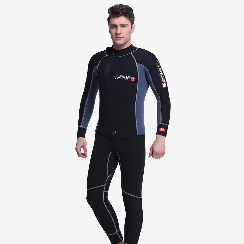 Professional Diving Wetsuit for Men 5MM Neoprene Double Warm Winter Swimming Surfing Two-piece Suit Thicker Dive Watersports