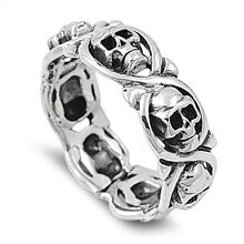 Halloween Full Circle Skull Ring European and American Creative Vintage Thai Silver Skeleton Rings for Party Jewelry