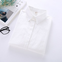White Shirt Women Long Sleeve 2018 New Brand Blouses Lady Young Casual Cotton Shirts Solid Color Simple Style Women Tops Blusas 5