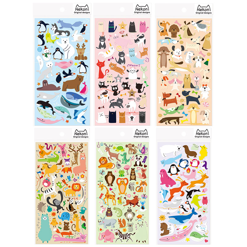 DIY Colorful Large Collection Of Animals Kawaii Stickers Diary Planner Journal Note Diary Paper Scrapbooking Albums PhotoTag