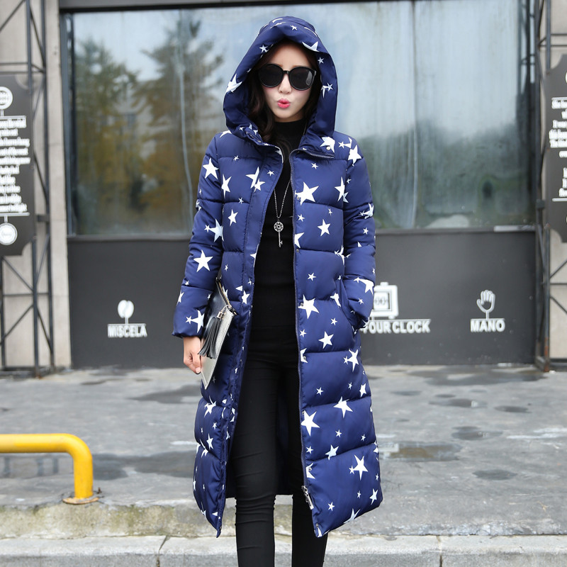 Plus Size L-3XL Winter Jacket Women Over Knee Padded Outwear Cotton Coats Jacket Star Parkas Women Jackets Hooded Overcoat C1779 l 4xl plus size winter coat women fur hooded long jacket women winter outwear coats slim cotton padded jackets parkas mujer 2017