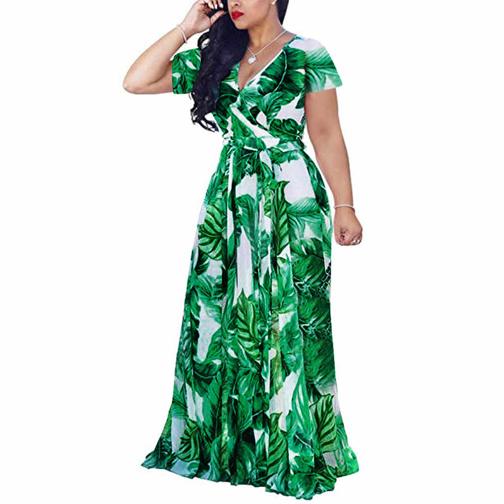 Plus Size Summer Maxi Dress 2019 Women Print Long Dress Party Dresses Woman Party Night Elegant Dress