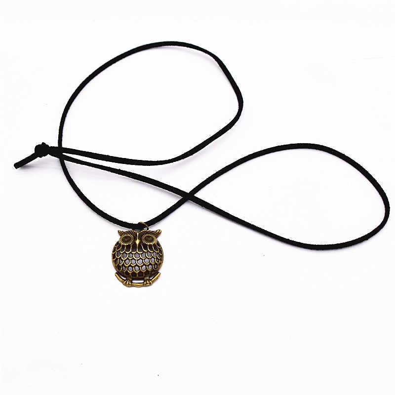 Nowa moda czysty czarny aksamit skórzany naszyjnik Retro sowa zawieszki Bijoux Maxi komunikat długi naszyjnik dla kobiet i mężczyzn biżuteria