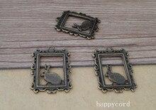 50pcs Antique bronze rabbit necklace Pendant charm 17mmx25mm