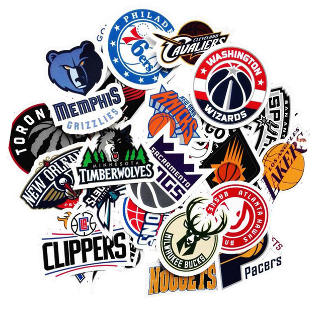 30pcs lot pvc waterproof nba basketball club logo sticker for laptop trunk skateboard fridge phone