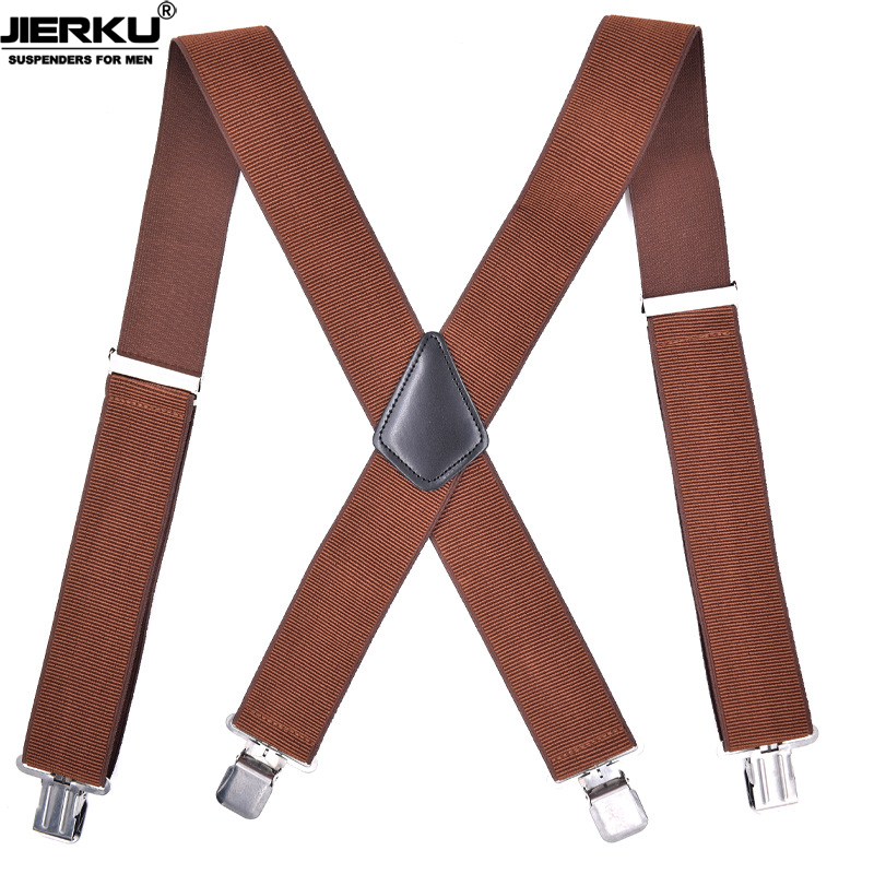 JIERKU Suspenders Man's Braces 4 Clips Suspensorio Trousers Strap Adjustable Outdoor Suspenders Brown Color  5.0*120cm JK4C05