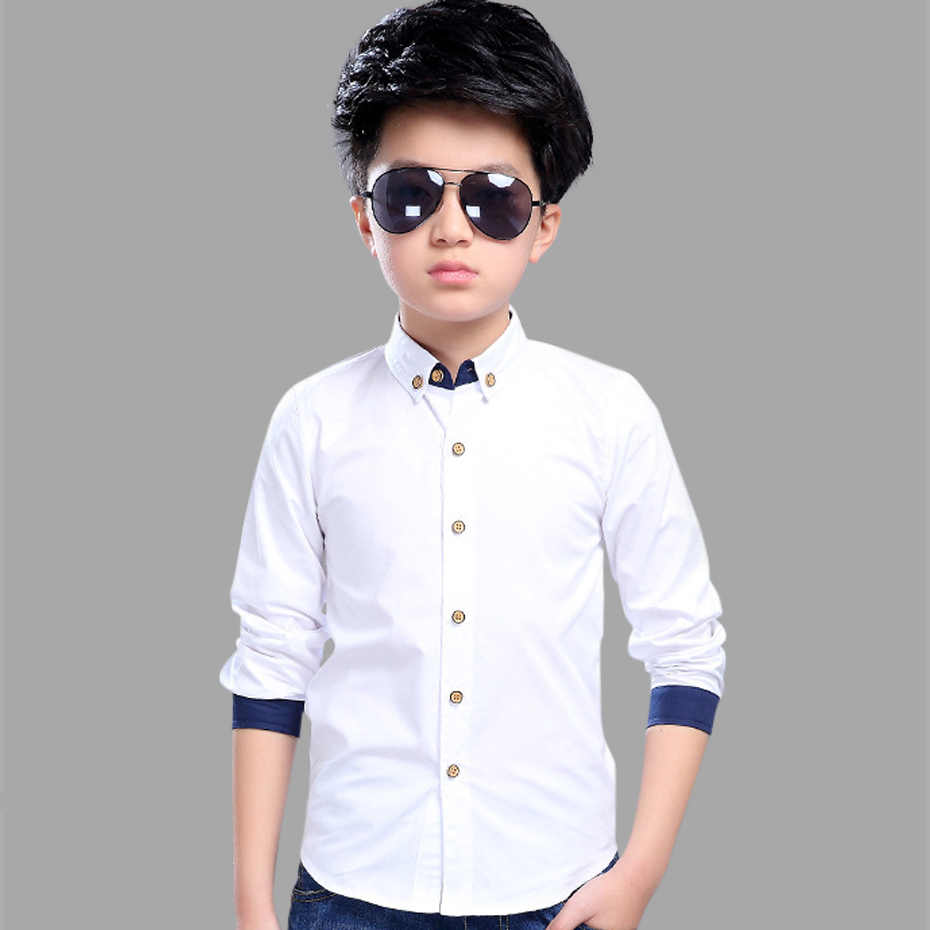 Teenage Boys Shirts School Shirt for Boys Turn Down Collar Shirt For Boys White Kids Teen Clothes 6 8 10 12 14 Year