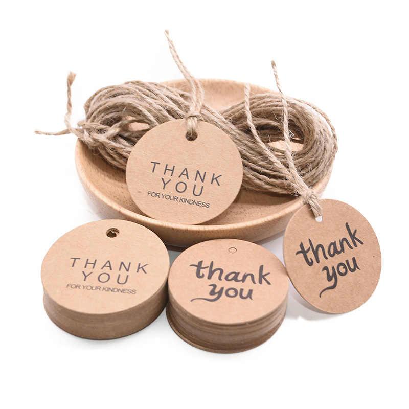 Etiquetas de agradecimiento hechas a mano 100 Uds. Para recuerdos de boda Kraft, etiquetas de regalo para fiesta de cumpleaños, dulces, galletas, etiquetas colgantes decorativas