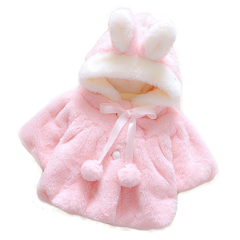 Free ship infant baby girls flannel cute pink white princess clothing rabbit ear hat Hairball cozy winter coat soft warm jacket