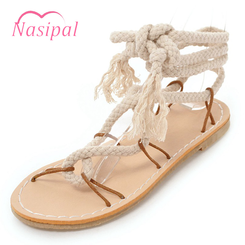 Nasipal Plus Size 30-45 Ethnic Bohemian Summer Woman Sandals Gladiator Roman Cross Strappy Shoes Women Flat Sandals Casual C398 women wedges sandals plus size 36 42 woman summer shoes 2018 new fashion casual shoes for woman european gladiator sandals