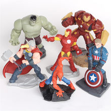 6 pçs/set The Avengers Capitão América Homem De Ferro Hulk Thor Spiderman Com Base 4 Polegadas Action Figure Toy Z270 Hulkbuster(China)