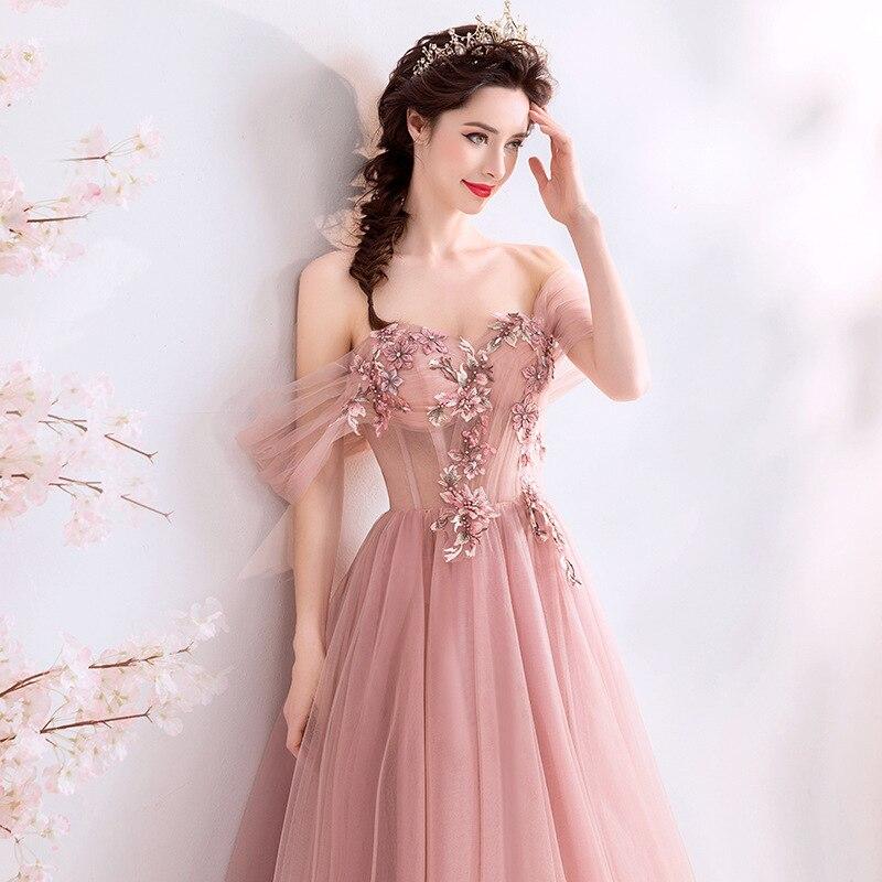 Robes De bal De conte De fées rose 2019 perles Appliques Robe De bal hors De l'épaule Robe formelle Occasion robes De soirée Robe De soirée
