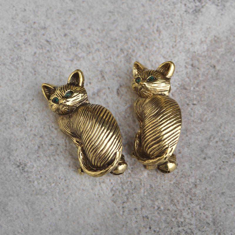 Vintage Cat Bros Paduan Bros Untuk Wanita Hijau Kristal Logam Anti Emas Hewan Broche Pernikahan Blus Klip Pin perhiasan