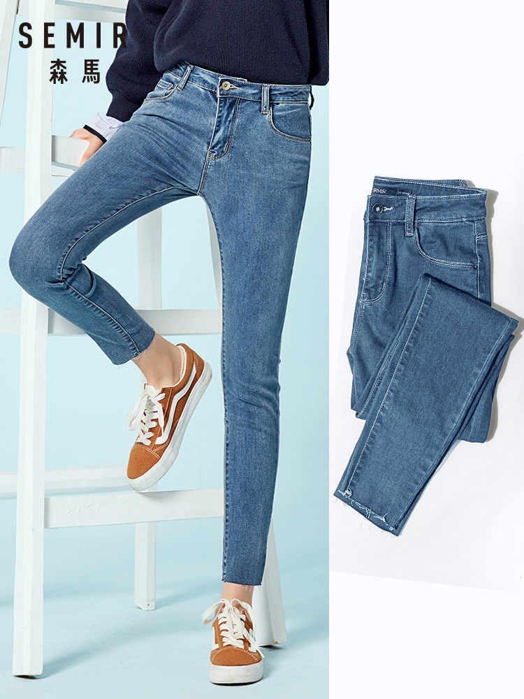 SEMIR Frauen Cropped Dünne Jeans mit Raw-rand Rand Retro Stil frauen Ankle Jeans Gewaschen Denim mit Zip fly Slim Fit