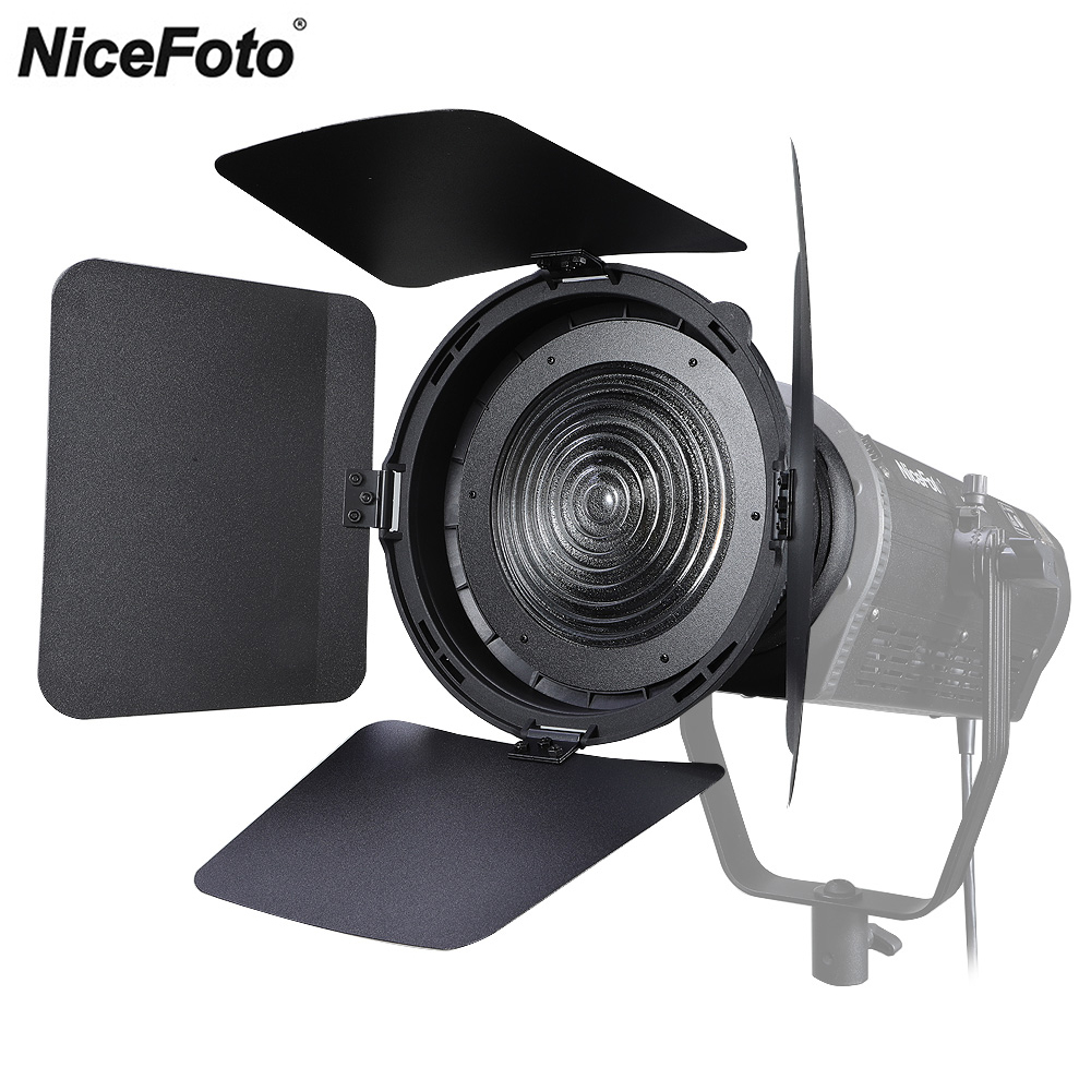 NiceFoto FD-110 Fresnel Mount Light Focusing Adapter With Barn Doors For Bowens Mount LED Video Light Aputure COB 120D II 120T