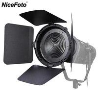 NiceFoto FD 110 Fresnel Mount Light Focusing Adapter with Barn Doors for Bowens Mount LED Video Light Aputure COB 120D II 120T