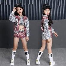 6395b87227d6c Los niños de ropa Hip Hop Ropa para Niñas chaqueta cultivo tanque Tops  pantalones cortos de