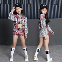 Girls Sequin Ballroom Jazz Hip Hop Dance Competition Costume Tank Tops Shorts Jackets Coat For Kid