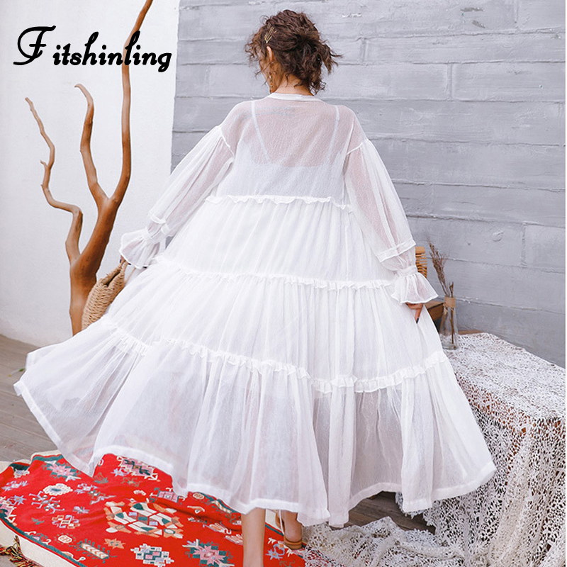 Fitshinling Ruffles chiffon summer beach cover up swimwear bohemian transparent long cardigan kimono sexy hot bikini outer cover
