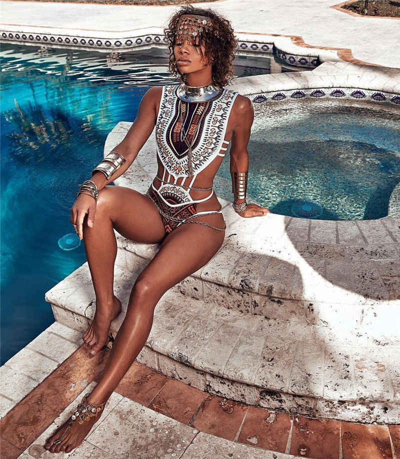 Baru 2018 Musim Panas Wanita Etnis Desain Fringe Swimwear One Piece Monokini Berongga Out Backless Swimsuit Kuning Putih Hitam Plus Ukuran