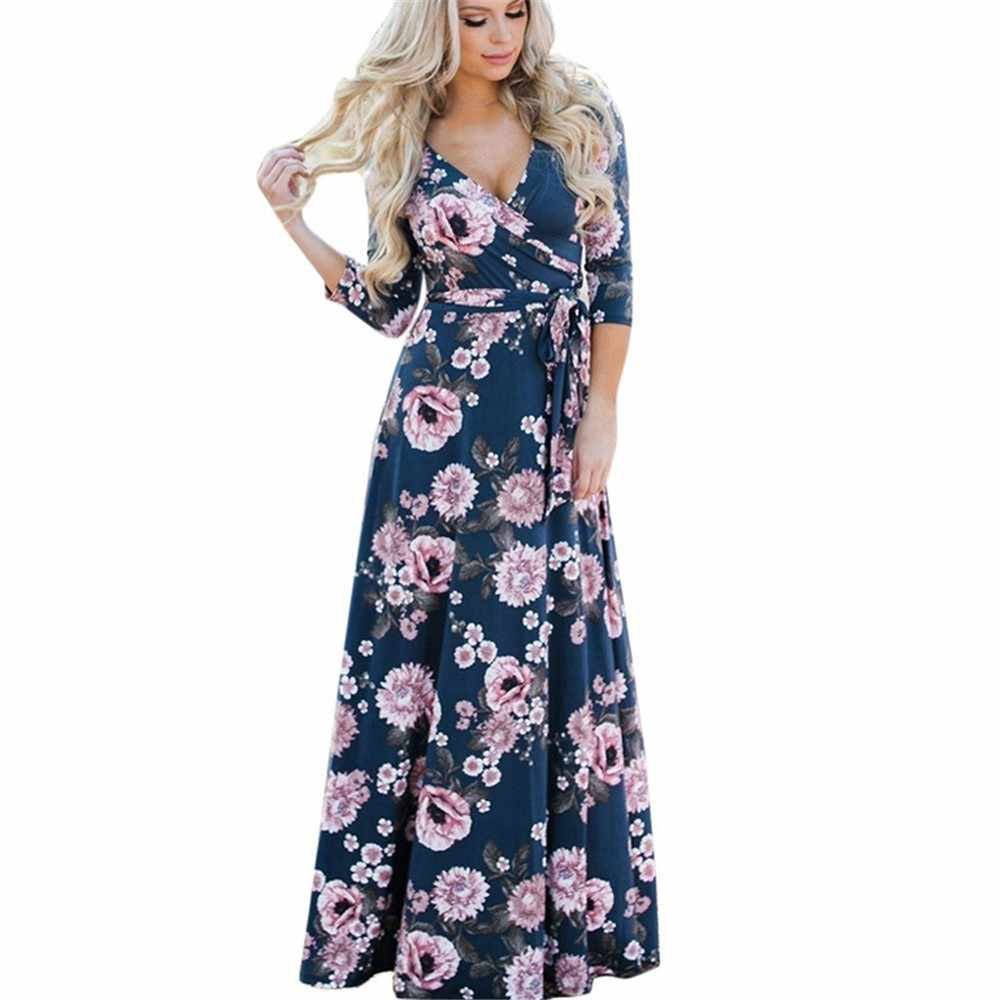 Womail Boho Womens Floral Printing Dress V-Neck Long Dress With Sashes Female Large Size Mujeres Vestido Drop Shipping 3.JULY.20