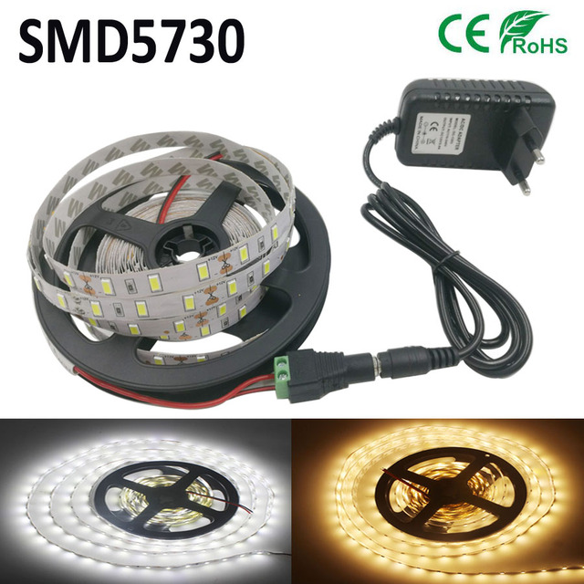 LED Strip light 5630 DC12V 5M 300led flexible 5730=3A adapter bar light high brightness indoor home decoration  Non-waterproof