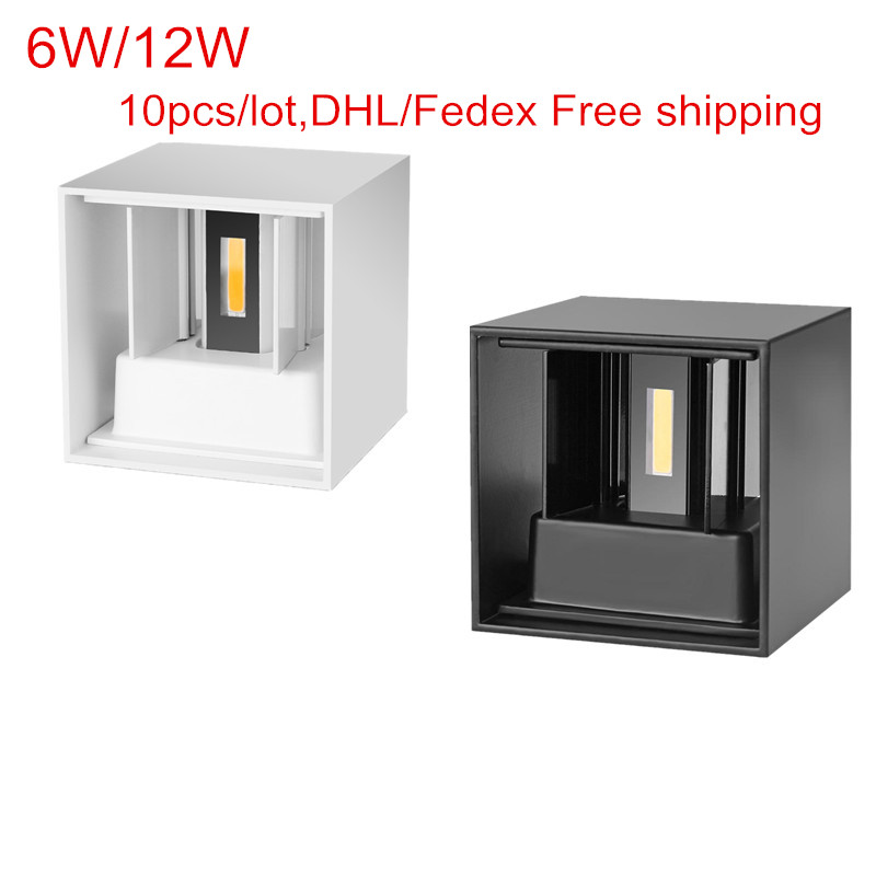 10pcs/lot 6W 12W indoor outdoor Led Wall Lamp modern Aluminum Adjustable Surface Mounted Cube Led Garden Porch Light DHL Free10pcs/lot 6W 12W indoor outdoor Led Wall Lamp modern Aluminum Adjustable Surface Mounted Cube Led Garden Porch Light DHL Free