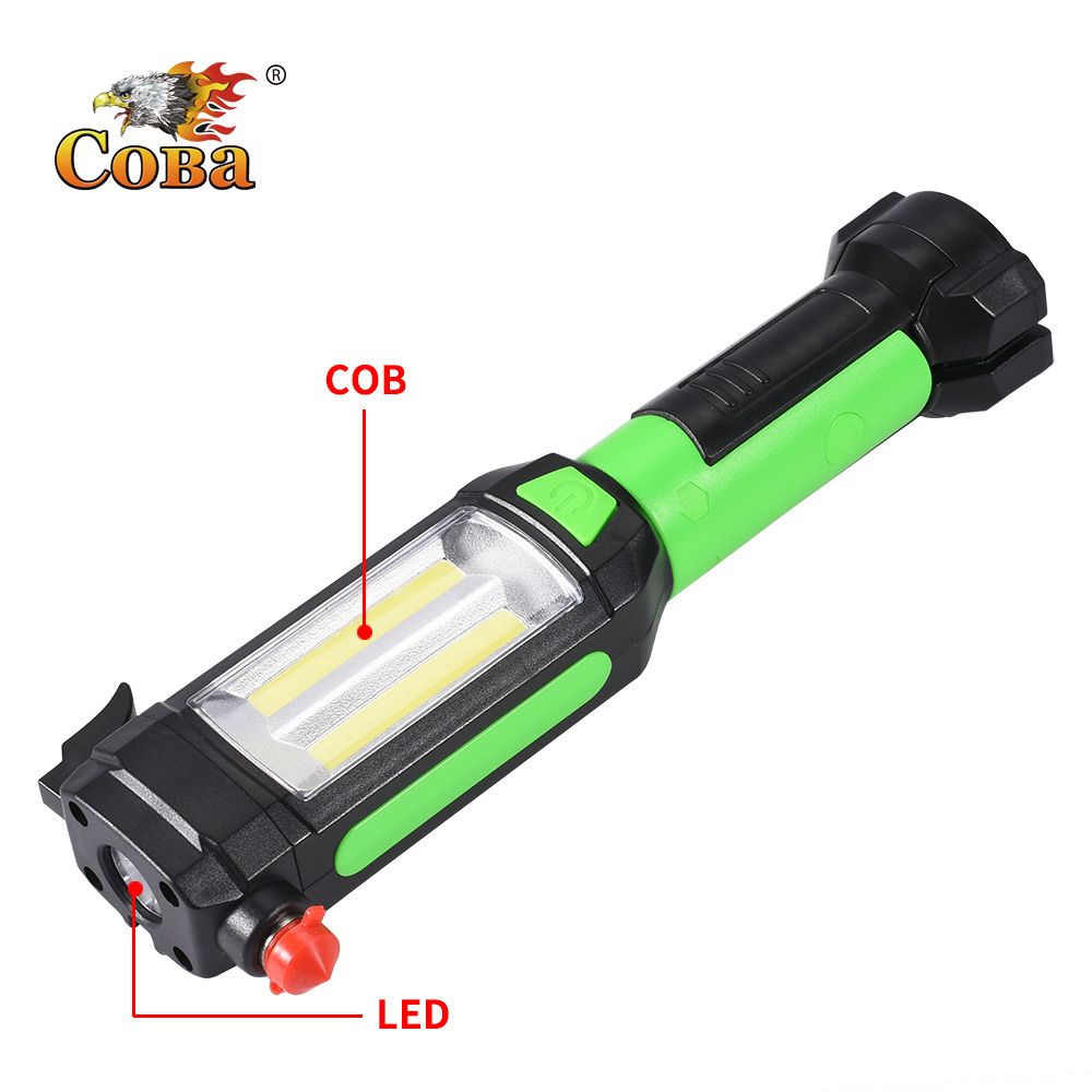 Coba cob work light led portable flashlight usb rechargeable light with knife hammer hook up magnetic clip for camping fixing