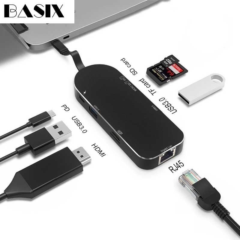 Basix Type C hub USB C à Multi USB 3.0 HUB adaptateur HDMI Dock pour MacBook Pro Huawei P30/P20 USB-C 3.1 séparateur 3 ports USB HUB