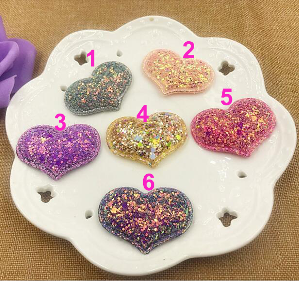 sew on Glitter felt patches for clothes 4x3cm Heart padded applique 20pcs scrapbooking accessories