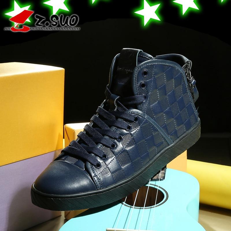 Zsuo 남자 가을, 겨울 트렌드 높은 캐주얼 신발 높은 정상, 최신 인기 패션 남성 가죽 신발, zs7901-에서남성용 캐주얼 신발부터 신발 의  그룹 3