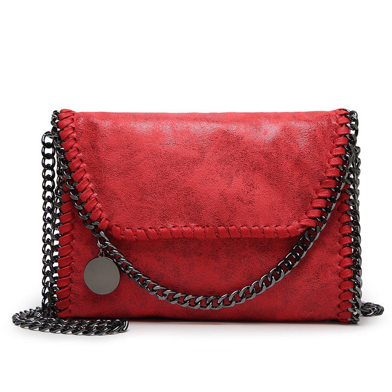 2017 New Style Women Red Black Small Chain Metal Sheets Square PU Leather Shoulder Crossbody Messager Bag Handbags for Lady