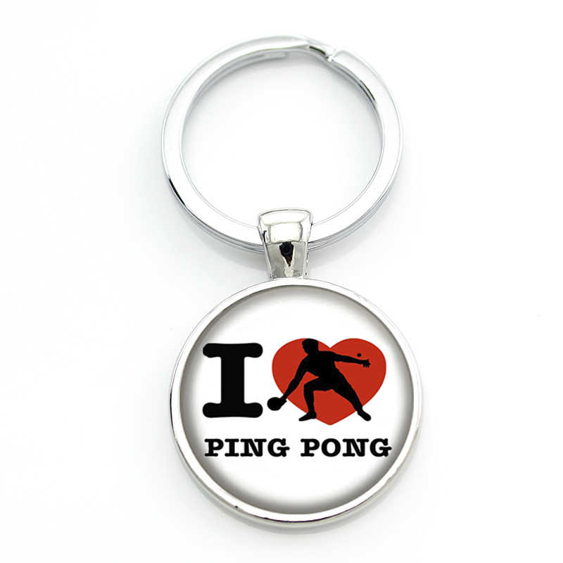 JWEIJIAO Table Tennis Pingpong art keychain vintage popular casual athletic sports jewelry women men key chain ring Custom SP314