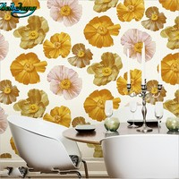 Beibehang High Grade Thick Flower Deer Leather Non Woven Wallpaper 3D Three Dimensional Relief Colorful Flowers