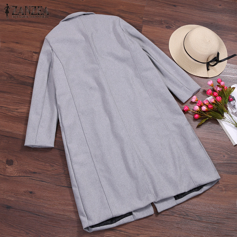 2019 ZANZEA Women Wool Blends Coat Winter Autumn Female Long Sleeve Double Breasted Long Jacket Plus Size Casual Windbreakers 5