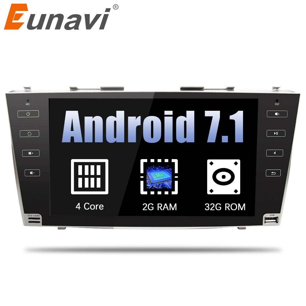 Eunavi 9'' 1024*600 2 din Android 7.1 Car Radio GPS Stereo for toyota camry 2007 2008 2009 2010 2011 with bluetooth wifi RDS USB