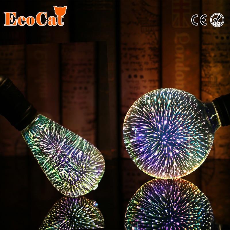 Silber Überzogene Glas 3D Sterne FÜHRTE Edison-birne 220 v A60 ST64 G80 G95 Urlaub Weihnachtsdekoration Bar Led-lampe Lamparas Bombillas