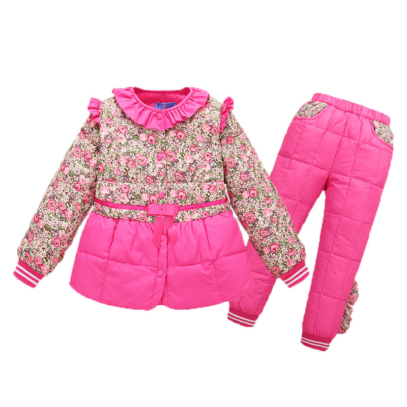 Winter Boys Girls Clothes Suits Winter Down Jacket + Trousers Snow Parkas Warm Kids Clothes 2PC Suit 4-8 Years kids russia winter boys girls down jacket boy girl warm thick duck down