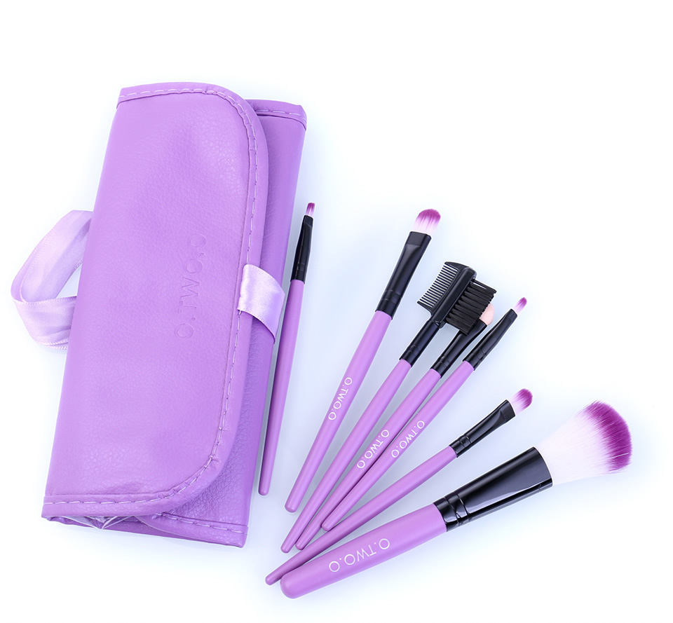 O.TWO.O Makeup Brushes Set 7pcs/lot Soft Synthetic Hair Blush Eyeshadow Lips Make Up Brush With Leather Case For Beginner Brush 13