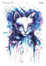 SC2982 HD Large Taty Halloween Easter Blue Cat Water Transfer Body Art Temporary Tattoo Stickers Flash Big Tatoos Tatouage