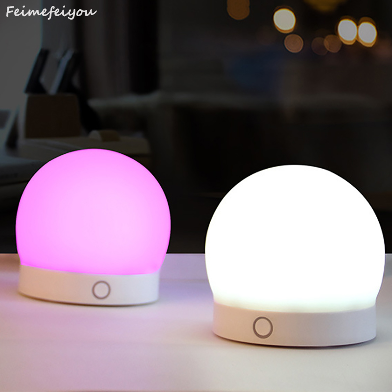 Feimefeiyou 7 Colors warm white ball shaped lessen pressure silicone LED USB chargeable Night Light Soft Cartoon LED Night Light