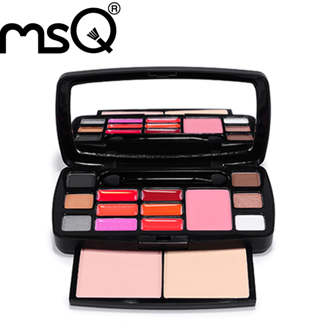 MSQ Brand 15 Colors Lipstick Eyeshadow Concealer Foundation Makeup Cosmetics Palette Travel Make Up Set